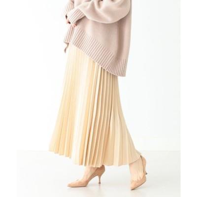 スカート Demi-Luxe BEAMS / サテン プリーツスカート