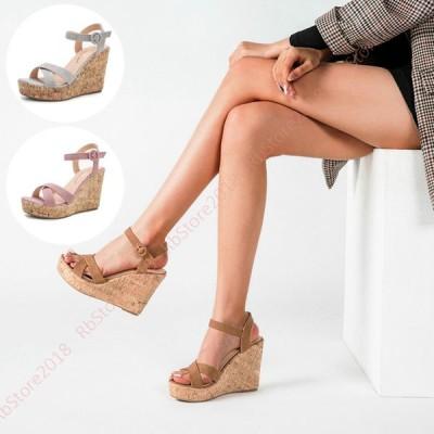 ウエッジソール サンダル 厚底 ウェッジ スエード レディース 11cmヒール 厚底サンダル 靴 歩きやすい 厚底シューズ アンクルストラップ 大きいサイズ 前厚