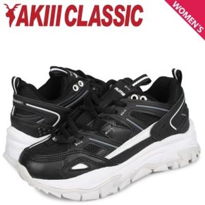 アキクラシック AKIII CLASSIC ランブル スニーカー ダッドシューズ レディース 厚底 RUMBLE ブラック 黒 AKC-0001