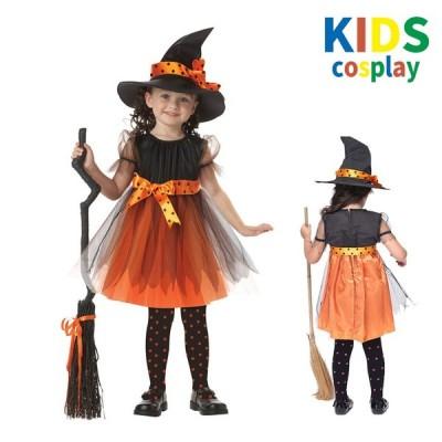 キッズコスプレ 魔法使い 魔女 悪魔 小悪魔 オレンジ 子ども用 童話 発表会 コスチューム 衣装 仮装 ジュニア 可愛い かわいい 子ども服 女の子