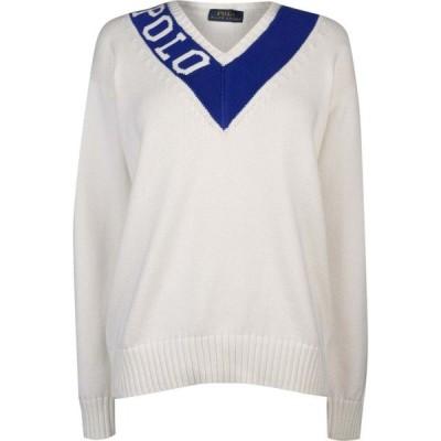 ラルフ ローレン POLO RALPH LAUREN レディース ニット・セーター Vネック トップス V Neck Knit Sweater Cream/Royal