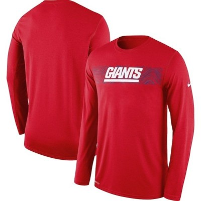 ナイキ メンズ Tシャツ トップス New York Giants Nike Sideline Seismic Legend Long Sleeve T-Shirt