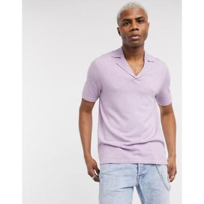 エイソス ポロシャツ メンズ ASOS DESIGN knitted revere polo shirt in lilac エイソス ASOS