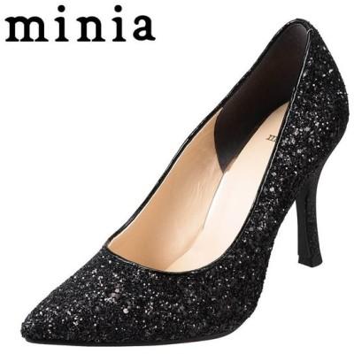 ミニア minia 9001 レディース | エレガントパンプス | 小さいサイズ対応 大きいサイズ対応 | ポインテッドトゥ | ブラック