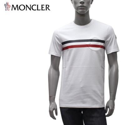 モンクレール MONCLER  ライン+エンボスワッペン Tシャツ【ホワイト】 8C7B810 8390T 001/【2021SS】m-tops