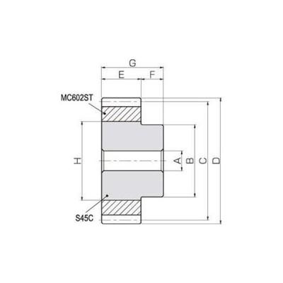 NSU 融着平歯車 モジュール2.5 小原歯車工業(KHK) NSU2.5-22