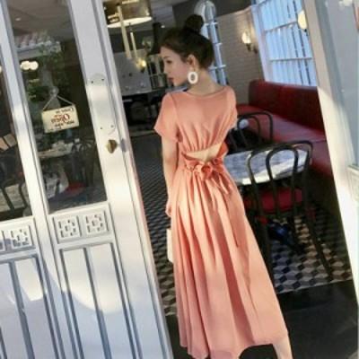 韓国 ファッション レディース ワンピース ロング 背中開き 肌見せ ハイウエスト 半袖 無地 バックシャン リゾート セクシー 大人可愛い