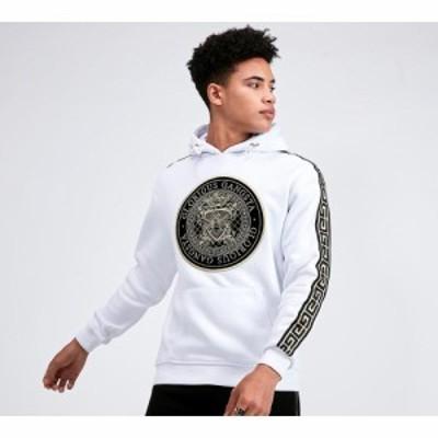 グロリアスギャングスタ Glorious Gangsta メンズ パーカー トップス winburg overhead hooded top White/Black/Gold