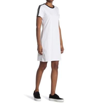 カルバンクライン レディース ワンピース トップス Logo Print T-Shirt Dress WHT BLACK