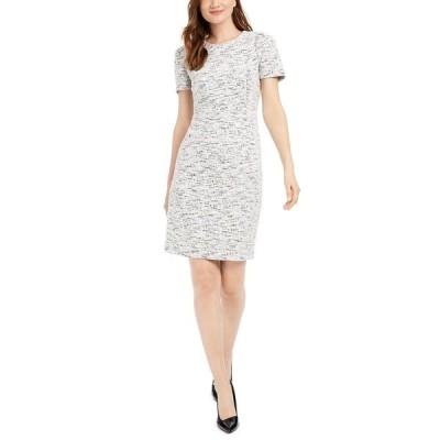 カルバンクライン ワンピース トップス レディース Stretch-Tweed Sheath Dress Cream/Black