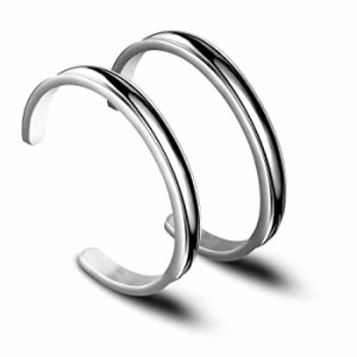 Zuo Bao Hair Tie Bracelet High Polishing Stainless Steel Grooved Cuff Bangle for Women Girls (Silver-2ps)