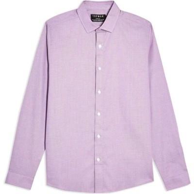 トップマン TOPMAN メンズ シャツ トップス Long Sleeves Pink Texture Solid Color Shirt Lilac