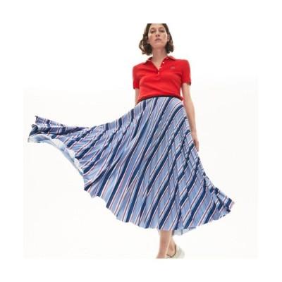 LACOSTE/ラコステ マルチカラーストライププリーツスカート ブルー M