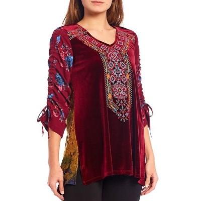 カレッサ レディース カットソー トップス 3/4 Cinched Floral Print Sleeve Embroidered V-Neck Velvet Tunic Raspberry/Multi