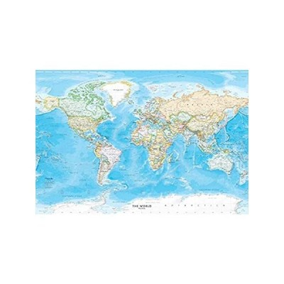 [新品]大型 53 x 36 世界地図 壁デカール 標準 ブルーオーシャン | 簡単に掛けられる壁紙 スティック&ピール| 世界地図 簡単に貼り付け、再配置、