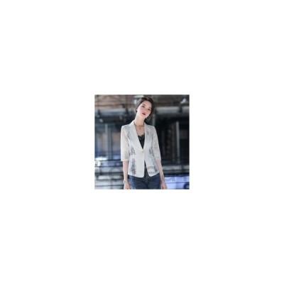 アウターレディースジャケットブレザーおしゃれレースきれいめ春夏秋ショートミドル丈七分袖総レース透け感大人カジュアルジャケットコーデ