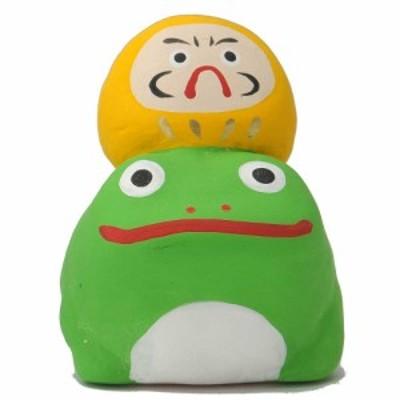 置物 インテリア カエル だるま 手造り/ 蛙乗りだるま 黄 /縁起物