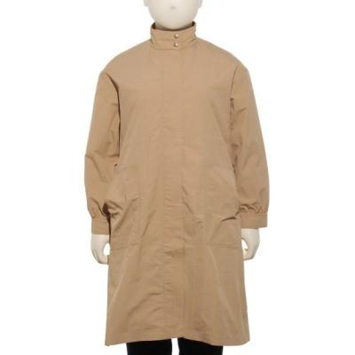 【大きいサイズ】コート ナイロングログランスタンドカラーAラインドロスト アウター トレンチコート レディース