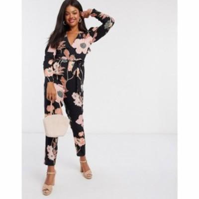 エイソス ASOS DESIGN レディース オールインワン ジャンプスーツ ワンピース・ドレス wrap peg leg jumpsuit in dark based floral prin
