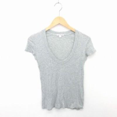 【中古】ジェームスパース JAMES PERSE Tシャツ カットソー Vネック 無地 綿 コットン 薄手 半袖 0 グレー 灰