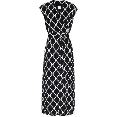 8 by YOOX ロングワンピース&ドレス ブラック 46 レーヨン 100% ロングワンピース&ドレス