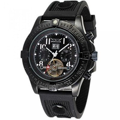 ファンミス 腕時計 メンズウォッチ Fanmismen's Automatic Stainless Steel Tourbillon Date Rubber Strap Mens Sport Wrist Watch Black