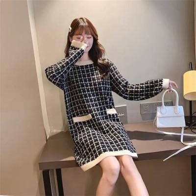 ワンピース 韓国 ファッション レディース 20代 30代 40代 50代 セーター ゆったり 秋冬 ニット カジュアル