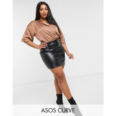 エイソス ASOS DESIGN レディース ミニスカート スカート Curve super seamed leather look mini skirt in black ブラック
