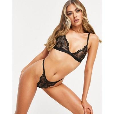 エイソス ASOS DESIGN レディース ショーツのみ インナー・下着 Asos Design Rosie Lace Thong In Black ブラック