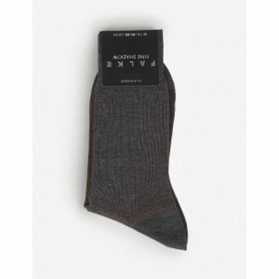 ファルケ FALKE メンズ ソックス コットン混 コットンブレンド コットン インナー・下着 Fine Shadow Cotton-Blend Socks Grey Melange