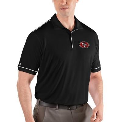 """メンズ ポロシャツ """"San Francisco 49ers"""" Antigua Salute Polo - Black/White"""