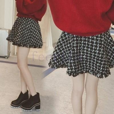 レディース スカート ミニ ショートスカート Aライン 大きいサイズ 千鳥格子柄 ブラックホワイト チェック柄 シンプル 膝上丈 フリンジ