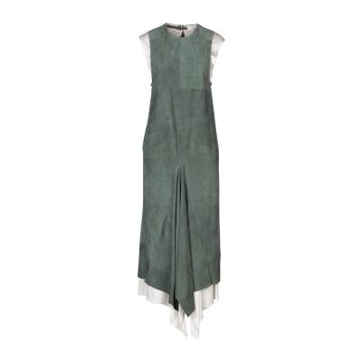 クロエ CHLOÉ 7分丈ワンピース・ドレス ミリタリーグリーン 36 山羊革 100% / レーヨン 7分丈ワンピース・ドレス
