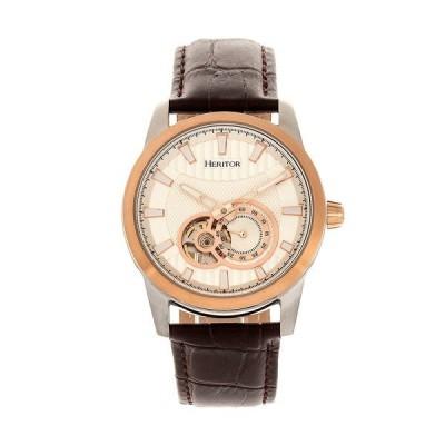 ヘリトール 腕時計 アクセサリー レディース Automatic Davidson Rose Gold Case, Genuine Brown Leather Watch 42mm Brown