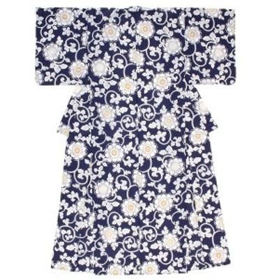 浴衣 単品 レディース 紺 ネイビー 菊花唐草 花 フラワー 綿 夏祭り 花火大会 女性用 仕立て上がり