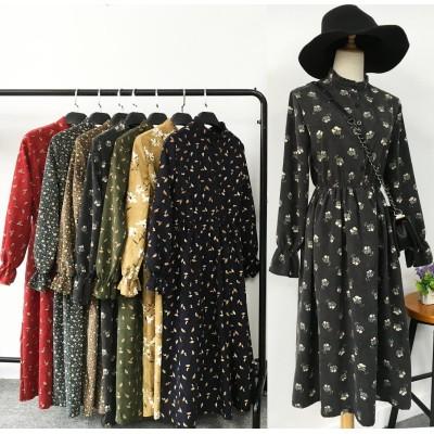 韓国ファッション ワンピース 秋冬 花柄ワンピース ロングワンピース ワンピ ワンピース 冬 チェック ドット