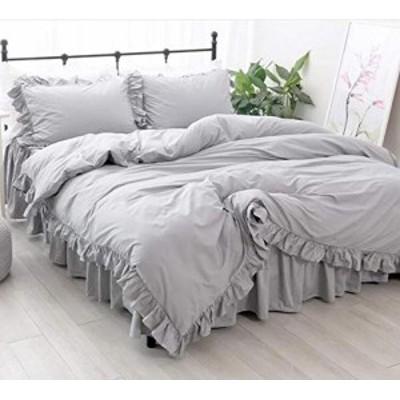 【送料無料】綿100% ライトグレー 布団カバー3点セット セミダブル 寝具カバー 掛ふとんカバーと枕カバー
