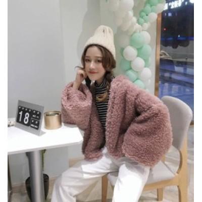 韓国 ファッション レディース ボア ブルゾン ジャケット ショート丈 アウター ボリューム袖 もこもこ 大人可愛い ガーリー 秋冬