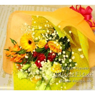黄色オレンジ系の花束「Jaune Fleure : ジュネフルール」