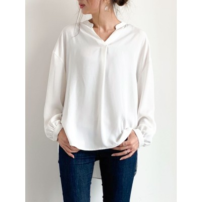 【WEB限定】抗菌・防臭機能 Vネックとろみシャツ