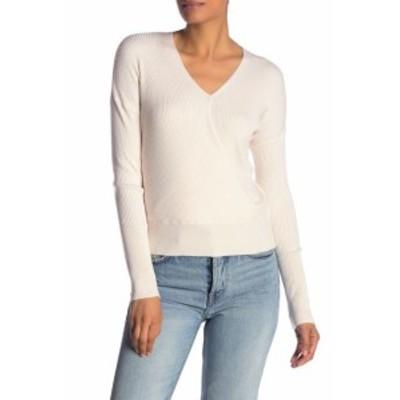 ファッション トップス Elodie NEW White Womens Size XS V-Neck Ribbed Wrap Swing Sweater