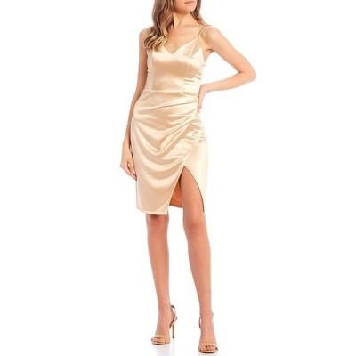 ビーダーリン レディース ワンピース トップス Spaghetti Strap V-Neck Satin Faux-Wrap Dress