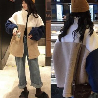 ボアブルゾン ボアジャケット モコモコ ボア アウター メンズライク ゆったり あったか 防寒 カジュアル ストリート 大人かわいい
