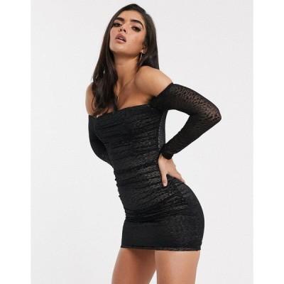 パラレルライン図 レディース ワンピース トップス Parallel Lines bardot bodycon dress in ruched leopard print mesh Black