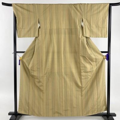 在庫一掃 紬 美品 秀品 縦縞 薄茶色 袷 身丈161cm 裄丈66cm M 正絹 中古