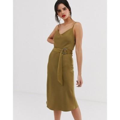 リバーアイランド レディース ワンピース トップス River Island belted slip dress in khaki