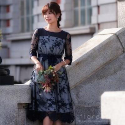 パーティードレス 結婚式・二次会・セレモニーシーン対応 ワンピース・パーティードレス チュール刺繍スカラップヘムドレス