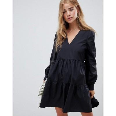 エイソス レディース ワンピース トップス ASOS DESIGN tiered cotton smock mini dress with long sleeves Black