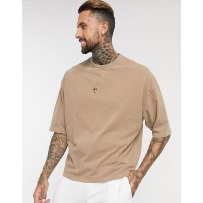 エイソス ASOS DESIGN メンズ Tシャツ トップス oversized t-shirt with half sleeve in heavyweight tan acid wash