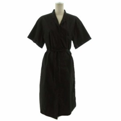 【中古】かぐれ I-UKI-KAHA-NGURENGURE ワンピース 半袖 ロング丈 リボン 裾スリット コットン ブラック 黒 Free